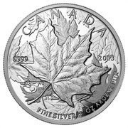 Canada 5 Dollars Maple Leaf - 25th Anniversary - High Relief Piedfort 2013 Proof KM# 1525 CANADA 9999 2013 FINE SILVER 1 OZ ARGENT PUR coin reverse