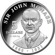 Australia 5 Dollars Sir John Monash 2018 SIR JOHN MONASH 1865 - 1931 5 DOLLARS 1 OZ .999 AG coin reverse
