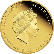 Australia 5 Dollars Year of the Monkey - Colored 2016 P ELIZABETH II AUSTRALIA 1/20 OZ 9999 GOLD 2016 5 DOLLARS IRB coin obverse