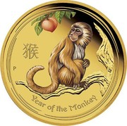 Australia 5 Dollars Year of the Monkey - Colored 2016 P YEAR OF THE MONKEY P IJ coin reverse