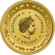 Australia 5 Dollars Year of The Pig (Gold Lunar Series II) 2019 ELIZABETH II AUSTRALIA 5 DOLLARS coin obverse