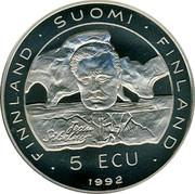 Finland 5 ECU Jean Sibelius 1992 UNC X# 1 FINLAND SUOMI FINLAND 5 ECU JEAN SIBELIUS 1992 coin obverse