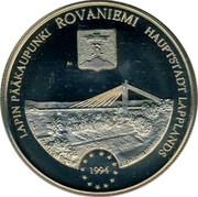 Finland 5 ECU Rovaniemi 1994 UNC X# 18 LAPIN PÄÄKAUPUNKI ROVANIEMI HAUPTSTADT LAPPLANDS 1994 coin reverse