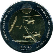 Finland 5 Euro 1st World Air Games - Aeromodelling 1997 UNC 1ST WORLD AIR GAMES TURKEY AEROMODELLING 1997 5 EURO FINLAND coin reverse