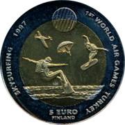 Finland 5 Euro 1st World Air Games - Skysurfing 1997 Proof X# 43 1ST WORLD AIR GAMES TURKEY SKYSURFING 1997 5 EURO FINLAND coin reverse