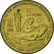 Malta 5 Euro First World War Centenary 2014 KM# 161 • MALTA • NURSE OF THE MEDITERRANEAN • REMEMBERS THE FALLEN • WW1 • 100TH ANNIVERSARY • 1914 1918 NGB 5 EURO coin reverse
