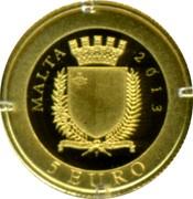 Malta 5 Euro Smallest Gold Coin in the World - The Picciolo 2013 Proof KM# 155 MALTA 2013 REPUBBLIKA TA' MALTA 5 EURO coin obverse