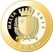 Malta 5 Euro Smallest Gold Coin in the World - The Zecchino 2014 Proof KM# 160 MALTA 2014 REPUBBLIKA TA' MALTA 5 EURO coin obverse