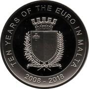 Malta 5 Euro Ten years of the euro in Malta 2018  TEN YEARS OF THE EURO IN MALTA 2008 - 2018 REPUBBLIKA TA'MALTA coin obverse