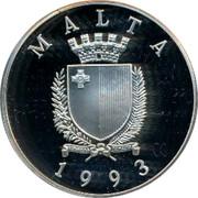 Malta 5 Liri 1994 Football World Cup in the United States 1993 Proof KM# 107 MALTA REPUBBLIKA TA'MALTA 1993 coin obverse