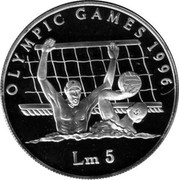 Malta 5 Liri Summer Olympic Games 1996 Atlanta 1996 Proof KM# 110 MALTA REPUBLIKKA TA' MALTA 1996 coin reverse
