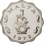 Malta 5 Mils Eastern Lampstand 1972 Proof KM# 7 MALTA 1972 coin obverse