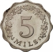 Malta 5 Mils Eastern Lampstand 1972 Proof KM# 7 5 MILS coin reverse