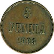 Finland 5 Pennia Aleksandr III 1889 KM# 11 5 PENNIÄ DATE coin reverse