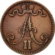 Finland 5 Pennia Alexander II Large letters 1867 KM# 4.1 5 PENNIÄ 1865 coin obverse