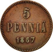 Finland 5 Pennia Alexander II Large letters 1867 KM# 4.1 A II coin reverse