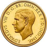 UK 5 Pounds Edward VIII (Pattern) 1937 Proof EDWARDVS VIII D: G: BR: OMN: REX F: D: IND: IMP. coin obverse