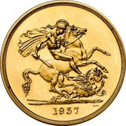 UK 5 Pounds Edward VIII (Pattern) 1937 Proof 1937 B.P. coin reverse