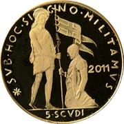Malta 5 Scvdi St. John give the banner to Frey M. Festing 2011 Proof SVB • HOC • SIGNO • MILITAMVS 2011 5•SCVDI coin reverse