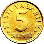 Estonia 5 Senti 1992 KM# 21 Standard Coinage EESTI VABARIIK 5 • SENTI • coin reverse