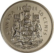 Canada 50 Cents Coat of arms SmBds 1988 Proof KM# 75.3 CANADA DATE 50 CENTS coin reverse
