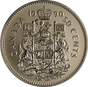 Canada 50 Cents Elizabeth II 3rd portrait 1990 Proof KM# 185 1994 CANADA 50 CENTS coin reverse