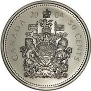 Canada 50 Cents Elizabeth II 4th portrait 2004 P KM# 494 CANADA *YEAR* 50 CENTS A MARI USQUE ADMARE coin reverse