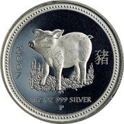 Australia 50 Cents Year of the Pig 2007 P 2007 1/2 OZ 999 SILVER P coin reverse