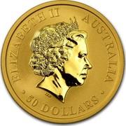 Australia 50 Dollars Kangaroo 2011 P Proof ELIZABETH II AUSTRALIA 1/2 OZ 9999 GOLD 2011 50 DOLLARS IRB coin obverse