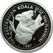 Australia 50 Dollars (Koala) THE AUSTRALIAN KOALA 1/2 OZ. 9995 PLATINNUM ∙ 1997 ∙ coin reverse