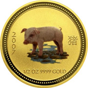 Australia 50 Dollars Year of the Pig - Colorized 2007 MS-BU 2007 1/2 OZ 9999 GOLD coin reverse