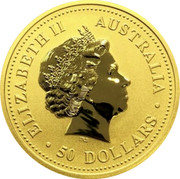 Australia 50 Dollars Year of the Rooster - Colorized 2005 ELIZABETH II AUSTRALIA 50 DOLLARS IRB coin obverse