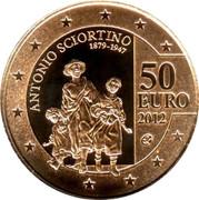 Malta 50 Euro Antonio Sciortino 2012 Proof KM# 146 ANTONIO SCIORTINO 1879 - 1947 50 EURO 2012 coin reverse