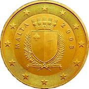 Malta 50 Euro Cent Maltese coat of arms 2008 KM# 130 MALTA 2008 REPUBBLIKA TA' MALTA coin obverse