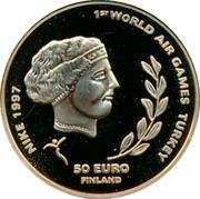 Finland 50 Euro First World Air Games Turkey 1997 Proof 1ST WORLD AIR GAMES TURKEY NIKE 1997 50 EURO FINLAND coin obverse