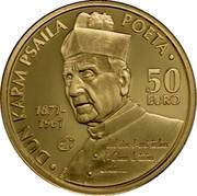 Malta 50 Euro Poet Dun Karm Psaila 2013 Proof KM# 153 DUN KARM PSAILA POETA 1871-1961 50 EURO coin reverse