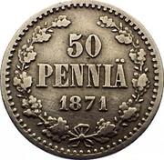 Finland 50 Pennia Alexander II Large letters 1871 S KM# 2.1 50 PENNIÄ DATE coin reverse
