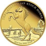 Australia 500 Dollars Australian Stoch Horse 2014 P AUSTRALIAN STOCK HORSE 2014 5 OZ 9999 GOLD P JM coin reverse