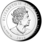 Australia 8 Dollars Apollo 11 - 50 Years Moonlanding 2019 ELIZABETH II AUSTRALIA 5 OZ 9999 AG 2019 8 DOLLARS coin obverse