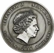 Australia 8 Dollars End of WWI 100th Anniversary 2018 ELIZABETH II AUSTRALIA 5 OZ 9999 AG 2018 8 DOLLARS coin obverse