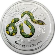 Australia 8 Dollars (Year of the Snake - green and yellow) YEAR OF THE SNAKE P coin reverse