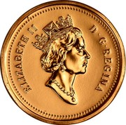 Canada Cent Elizabeth II 3rd portrait 1991 Proof KM# 181 ELIZABETH II D∙G∙REGINA coin obverse