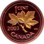 Canada Cent Elizabeth II 3rd portrait; Maple leaf gold plated 2003 Proof KM# 490b 1 CENT 2003 KG CANADA coin reverse