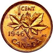 Canada Cent George VI 1946 KM# 32 1 CENT 1937 K∙G CANADA coin reverse