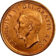 Canada Cent George VI 1950 KM# 41 GEORGIVS VI DEI GRATIA REX HP coin obverse