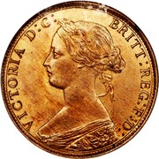 Canada Cent Victoria 1861 KM# 8.1 VICTORIA D:G: BRITT: REG:F:D: coin obverse