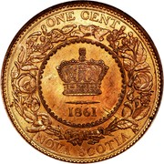Canada Cent Victoria 1861 KM# 8.1 ONE CENT NOVA SCOTIA coin reverse