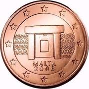 Malta Euro Cent Mnajdra temples 2008 Proof KM# 125 MALTA 2008 NGB F coin obverse