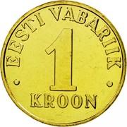 Estonia Kroon 2001 KM# 35 Standard Coinage • EESTI VABARIIK • 1 KROON coin reverse