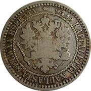 Finland Markka Aleksandr II 1866 S KM# 3.1 94.48 KAPPALETTA NAULASTA SELWÄÄ HOPEATA S coin obverse